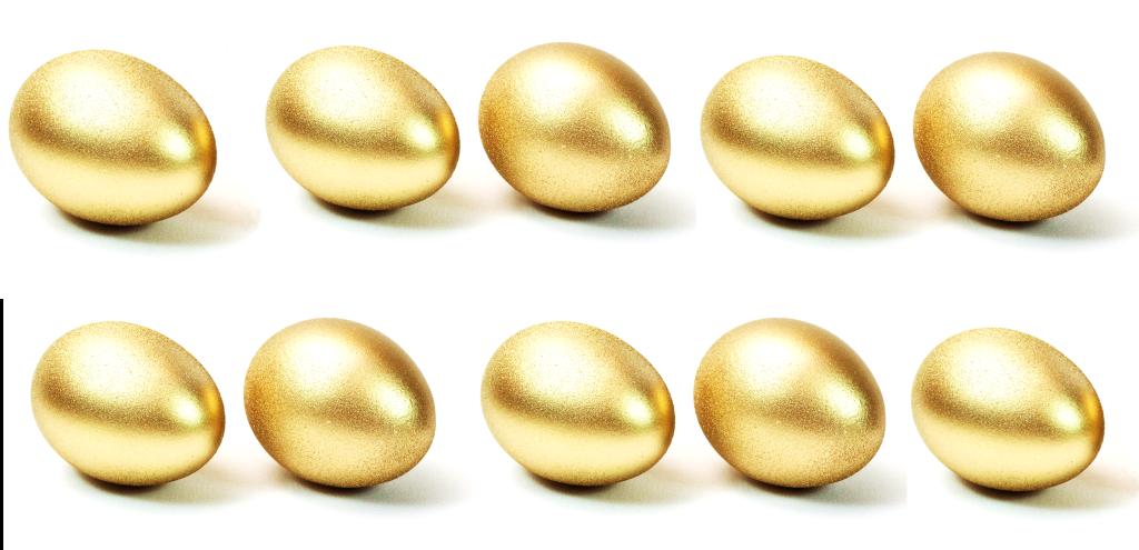 Das Bild zeigt 10 goldene Eier. Sie stehen für die zehn goldenen Regeln für die Bachelorarbeit.