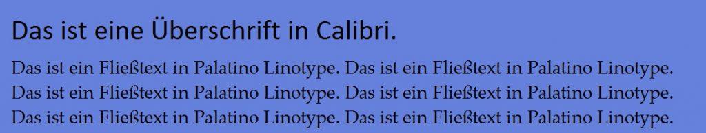 Calibri Palatino Kombination